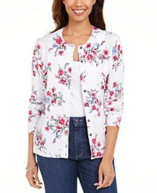 Floral-Print Button Cardigan, Created for Macy's