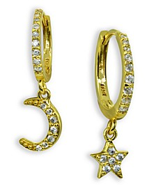 Cubic Zirconia Moon & Star Charm Drop Huggie Hoop Earring in Sterling Silver or 18k Gold Plated Sterling Silver