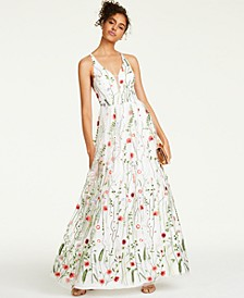 Juniors' Embroidered Strappy-Back Gown, Created For Macy's