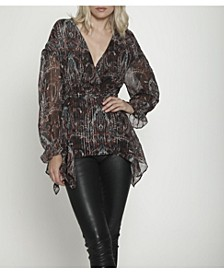 Peasant-style Top with V-Neck, Split Sleeves, and Asymmetrical Hemline