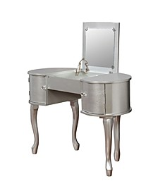 Chloe 2-Piece Wood Vanity Table And Stool Set