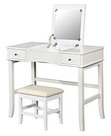 Everton 2-Piece Wood Vanity Table And Stool Set