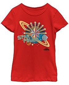 Marvel Big Girl's Captain Marvel Star Power Retro Style Short Sleeve T-Shirt