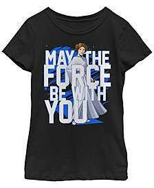 Star Wars Big Girl's Force Be with You Princess Leia Short Sleeve T-Shirt
