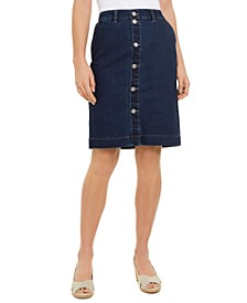 Button-Front Knee-Length Denim Skirt, Created for Macy's