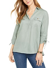 Woven Drawstring Tie-Cuff Top, Created for Macy's