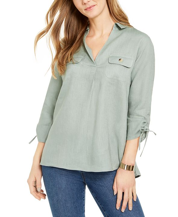 Charter Club Woven Drawstring Tie-Cuff Top, Created for Macy's