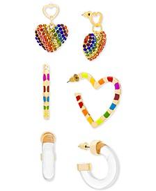 Gold-Tone 3-Pc. Set Heart & Hoop Earrings
