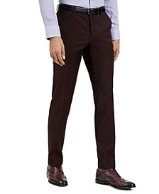 Men's Slim-Fit Red Clay Solid Suit Pants, Created for Macy's
