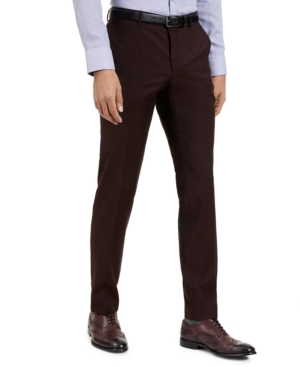 Hugo Men's Slim-Fit Red Clay Solid Suit Pants, Created for Macy's