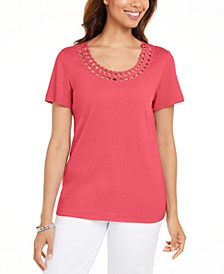 Cotton Scalloped-Neck T-Shirt, Created for Macy's