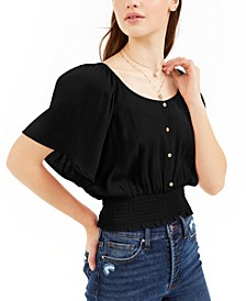 Juniors' Smocked-Waist Blouse