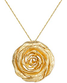 """Textured Rose 18"""" Pendant Necklace in 18k Gold-Plated Sterling Silver, Created for Macy's"""
