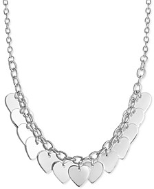 """Multi-Heart Charm 18"""" Statement Necklace in Sterling Silver, Created for Macy's"""