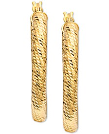 Textured Oval Hoop Earrings in 18k Gold-Plated Sterling Silver, Created For Macy's