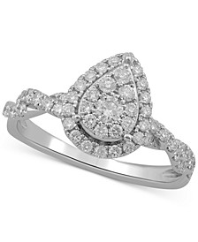 Diamond Teardrop Cluster Engagement Ring (5/8 ct. t.w.) in 10k White Gold