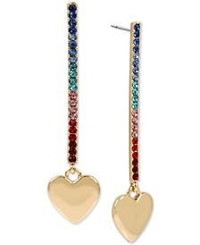 Gold-Tone Multicolor Pavé Stick & Heart Charm Linear Drop Earrings