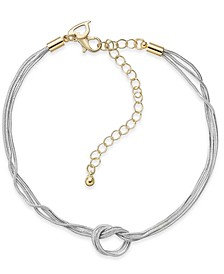 Two-Tone Triple-Row Knotted Ankle Bracelet, Created for Macy's