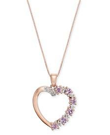 "Pink Sapphire (5/8 ct. t.w.) & Diamond (1/20 ct. t.w.) Open Heart 18"" Pendant Necklace in 14k Rose Gold"