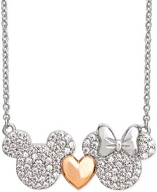 "Cubic Zirconia Mickey Heart Minnie 18"" Pendant Necklace in Sterling Silver & 18k Rose Gold-Plate"