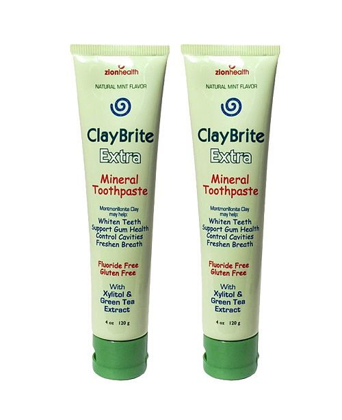 Zion Health Claybrite Extra Toothpaste Set of 2 Pack, 8oz