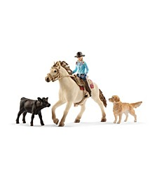 Farm World Western Riding Multipack Horse with Rider, Dog, Calf Toy Figure