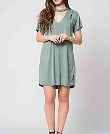 Keyhole Choker Style T-Shirt Dress