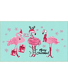 Flamingo Snowflakes Accent Rugs