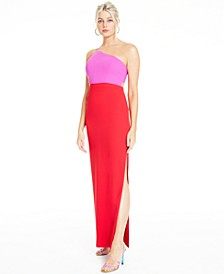 Colorblocked One-Shoulder Gown