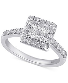 Diamond Princess Halo Engagement Ring (1 ct. t.w.) in 10k Gold & White Gold