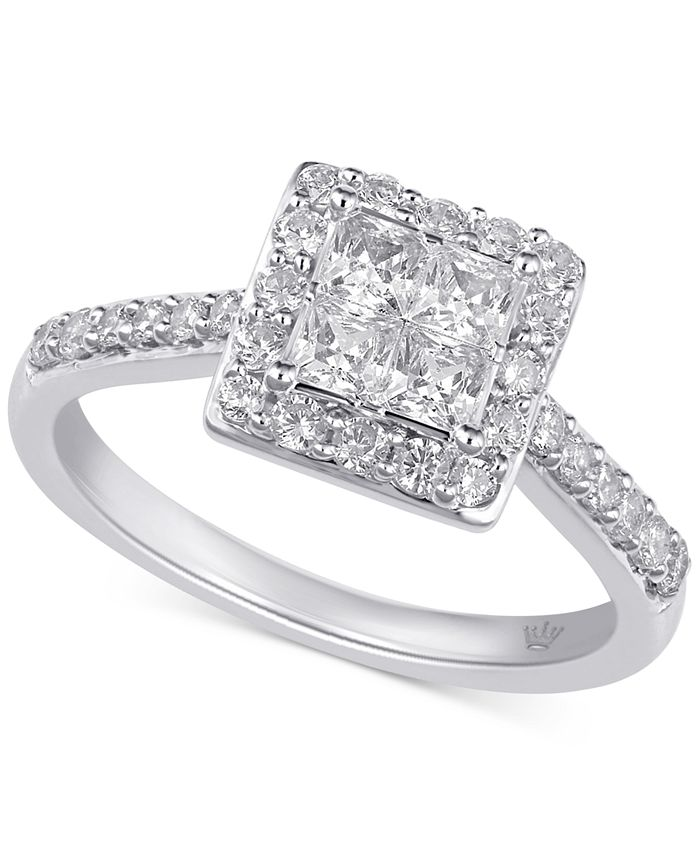 Macy's - Diamond Princess Halo Engagement Ring (1 ct. t.w.) in 10k Gold & White Gold