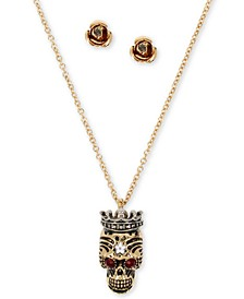 Two-Tone Pavé Crowned Skull Pendant Necklace & Rose Stud Earrings Set