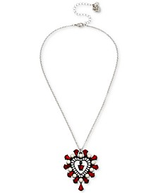"""Two-Tone Crystal & Imitation Pearl Openwork Heart Pendant Necklace, 16"""" + 3"""" extender"""