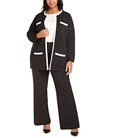 Plus Size Paris Contrast-Trim Cardigan
