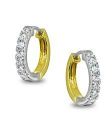 Cubic Zirconia Huggie Hoop Earrings in Two Tone 18k Gold Plate & Sterling Silver