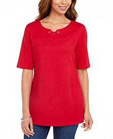 Cotton Split-Neck Elbow-Sleeve Top, Created for Macy's
