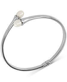 Cultured Freshwater Pearl (7 x 9mm) Bypass Bangle Bracelet in Sterling Silver
