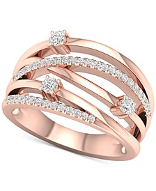 Diamond Multi-Row Crossover Statement Ring (1/3 ct. t.w.) in 10k Rose Gold