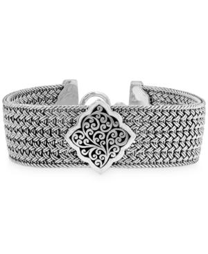 Filigree Plate Woven Bracelet in Sterling Silver