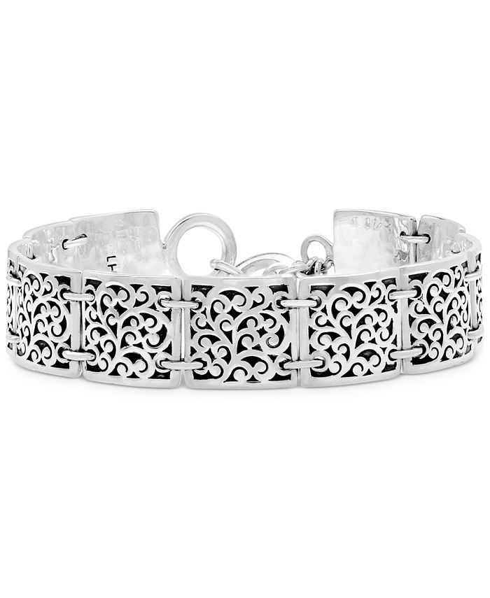 Lois Hill - Square Scroll Station Bracelet in Sterling Silver