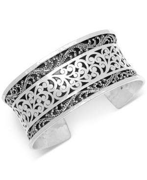 Filigree Wide Cuff Bracelet in Sterling Silver