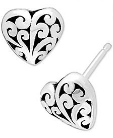 Filigree Heart Stud Earrings in Sterling Silver