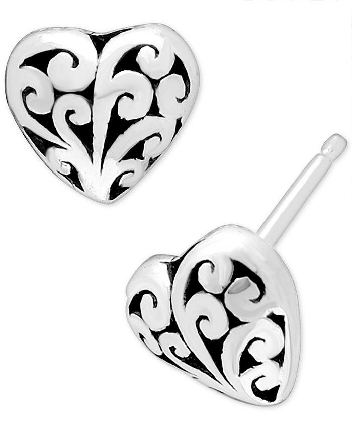 Lois Hill - Filigree Heart Stud Earrings in Sterling Silver