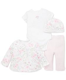 Baby Girls 4-Pc. Cotton Floral-Print Hat, Bodysuit, Top & Pants Set