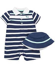 Baby Boys 2-Pc. Cotton Hat & Striped Puppy Romper Set