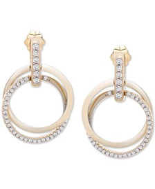 Diamond Double Ring Drop Earrings (1/2 ct. t.w.) in 14k Gold, Created for Macy's