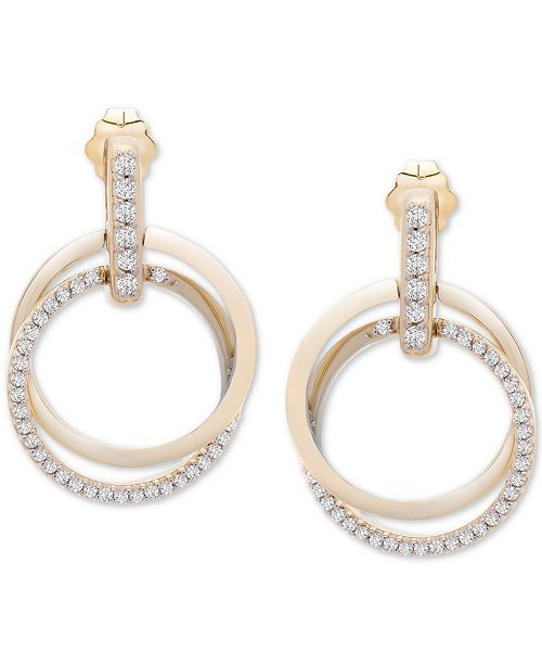 Wrapped in Love Diamond Double Ring Drop Earrings (1/2 ct. t.w.) in 14k Gold, Created For Macy's