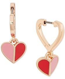 Gold-Tone Folded Heart Charm Drop Earrings