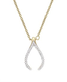 Diamond (1/10 ct. t.w.) Wishbone Necklace in 14k Yellow Gold Over Silver