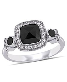 Black and White Diamond (1 1/3 ct. t.w.) Halo Engagement Ring in 14k White Gold